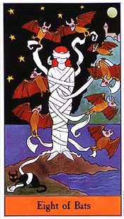 The Halloween Tarot - Eight of Bats