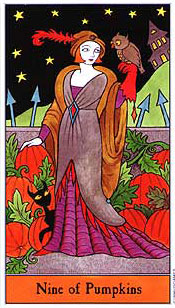 The Halloween Tarot - Nine of Pumpkins