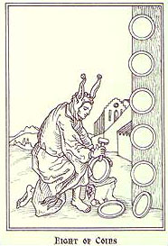 Ship of Fools Tarot - Eight of Coins
