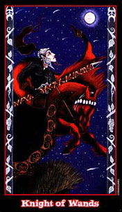 The Vampire Tarot - Knight of Wands