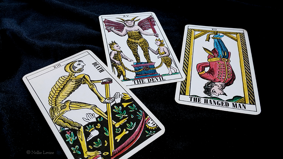 Death, the Devil, and the Hanged Man from Tarot Classic