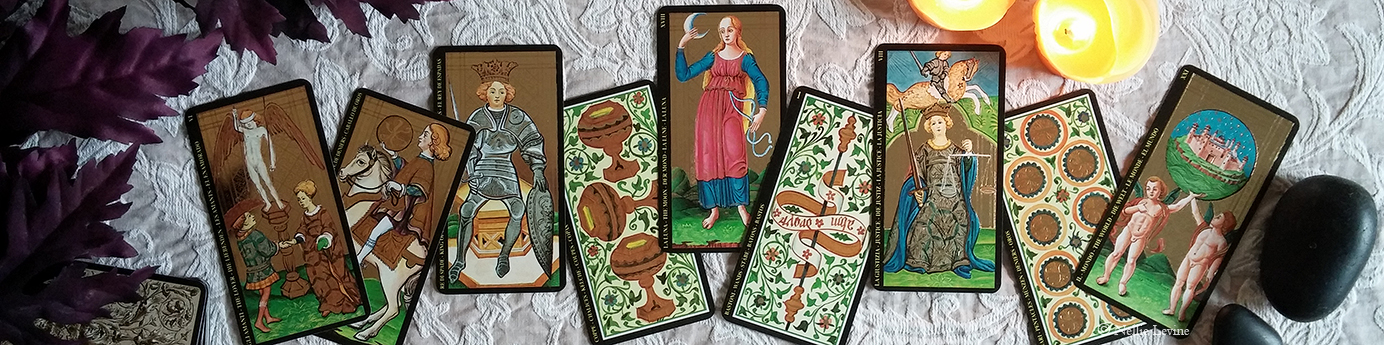 a selection of cards from the Visconti Tarot